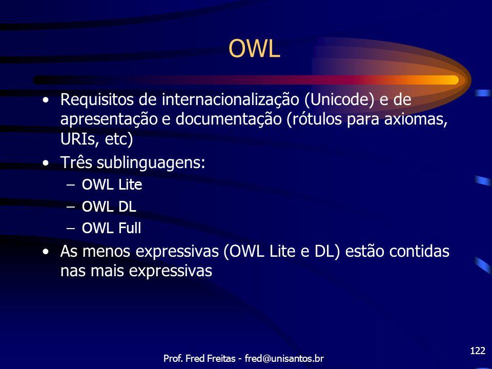 Prof. Fred Freitas - fred@unisantos.br 122 OWL Requisitos de internacionalização (Unicode) e de apresentação e documentação (rótulos para axiomas, URI