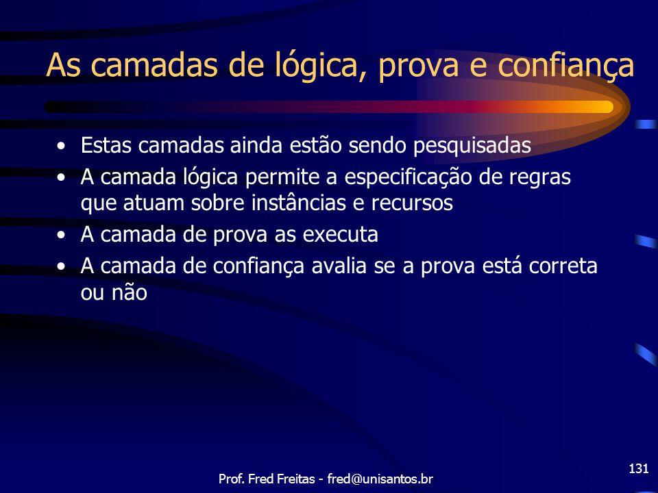 Prof. Fred Freitas - fred@unisantos.br 131 As camadas de lógica, prova e confiança Estas camadas ainda estão sendo pesquisadas A camada lógica permite