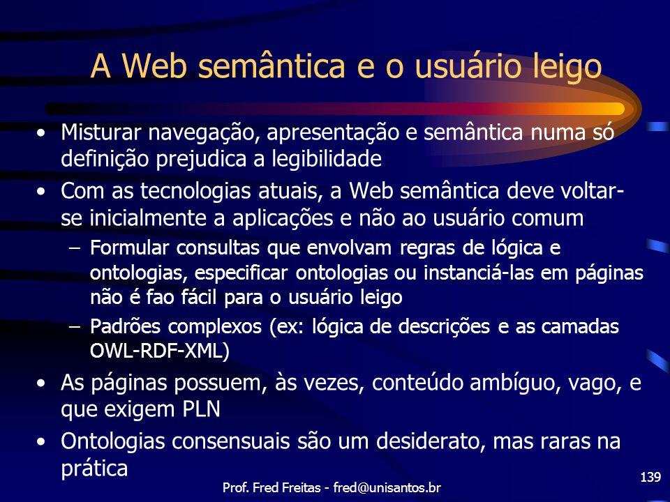 Prof. Fred Freitas - fred@unisantos.br 139 A Web semântica e o usuário leigo Misturar navegação, apresentação e semântica numa só definição prejudica