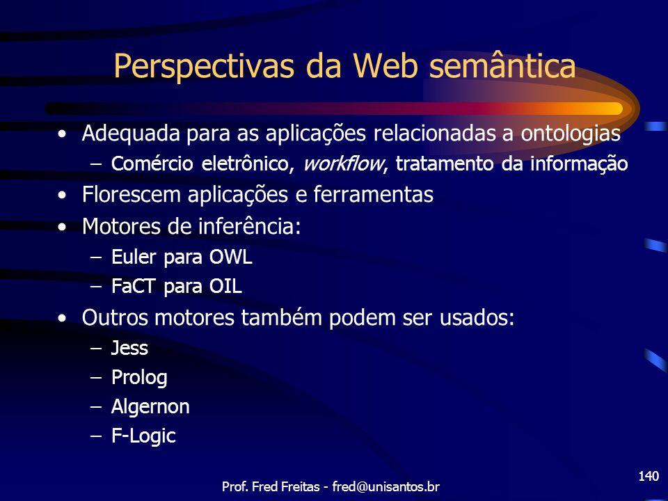 Prof. Fred Freitas - fred@unisantos.br 140 Perspectivas da Web semântica Adequada para as aplicações relacionadas a ontologias –Comércio eletrônico, w