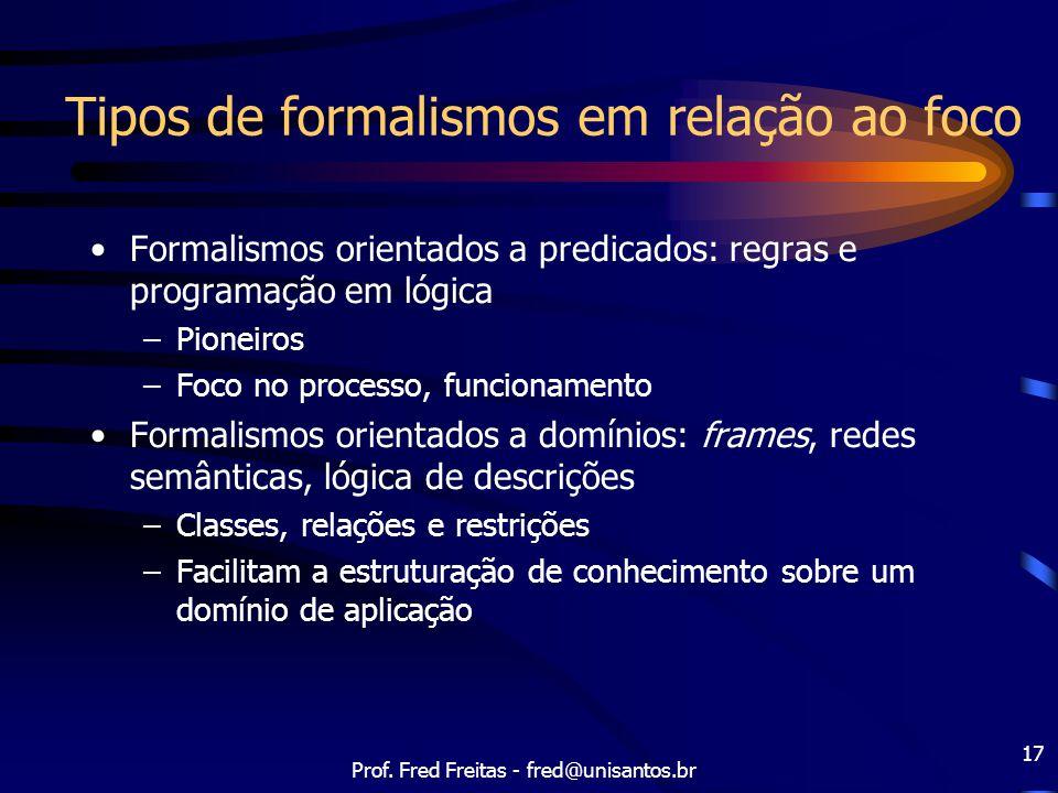 Prof. Fred Freitas - fred@unisantos.br 17 Tipos de formalismos em relação ao foco Formalismos orientados a predicados: regras e programação em lógica