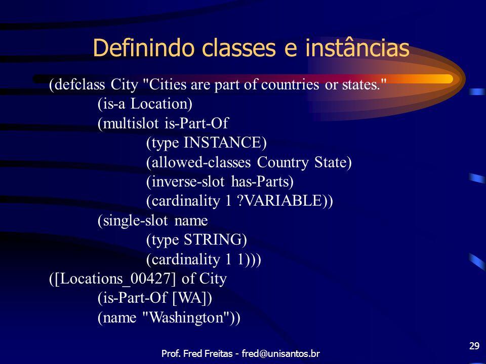 Prof. Fred Freitas - fred@unisantos.br 29 Definindo classes e instâncias (defclass City
