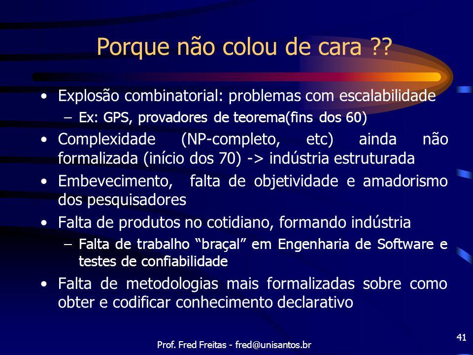 Prof. Fred Freitas - fred@unisantos.br 41 Porque não colou de cara ?? Explosão combinatorial: problemas com escalabilidade –Ex: GPS, provadores de teo
