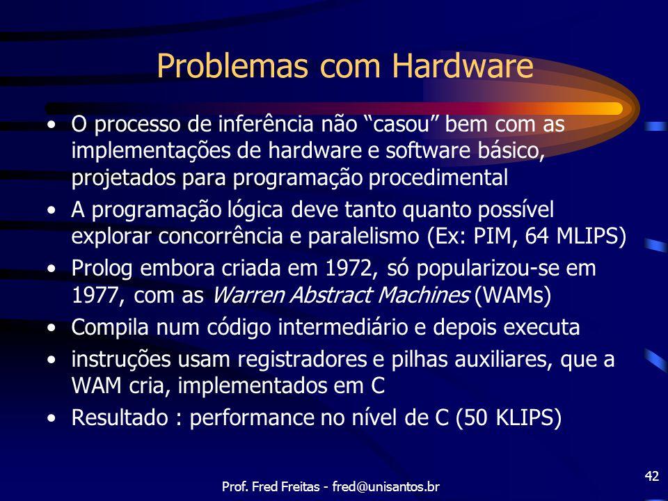 """Prof. Fred Freitas - fred@unisantos.br 42 Problemas com Hardware O processo de inferência não """"casou"""" bem com as implementações de hardware e software"""