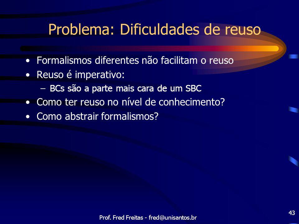 Prof. Fred Freitas - fred@unisantos.br 43 Problema: Dificuldades de reuso Formalismos diferentes não facilitam o reuso Reuso é imperativo: –BCs são a