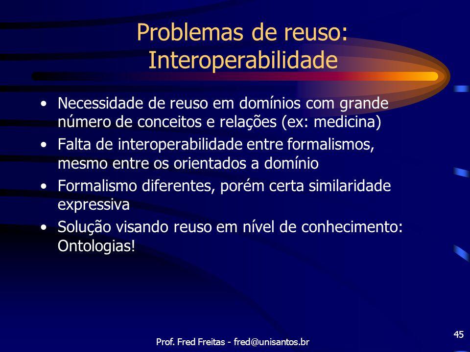 Prof. Fred Freitas - fred@unisantos.br 45 Problemas de reuso: Interoperabilidade Necessidade de reuso em domínios com grande número de conceitos e rel