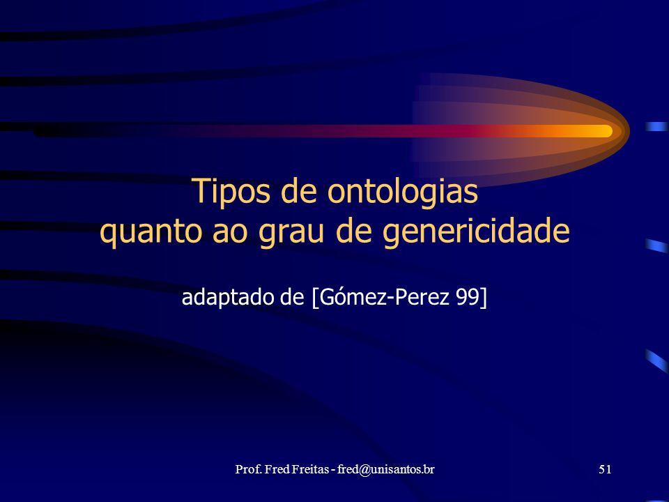 Prof. Fred Freitas - fred@unisantos.br51 Tipos de ontologias quanto ao grau de genericidade adaptado de [Gómez-Perez 99]