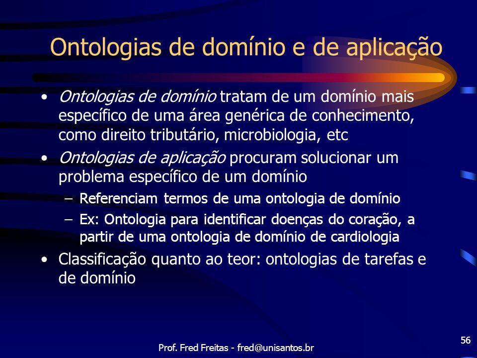 Prof. Fred Freitas - fred@unisantos.br 56 Ontologias de domínio e de aplicação Ontologias de domínio tratam de um domínio mais específico de uma área
