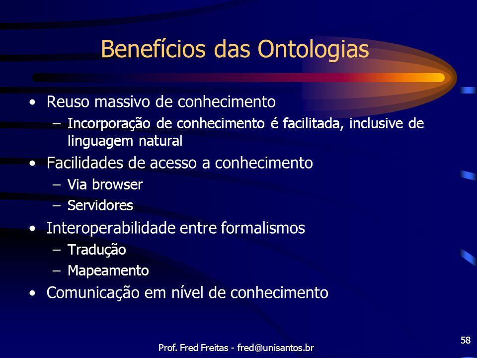 Prof. Fred Freitas - fred@unisantos.br 58 Benefícios das Ontologias Reuso massivo de conhecimento –Incorporação de conhecimento é facilitada, inclusiv