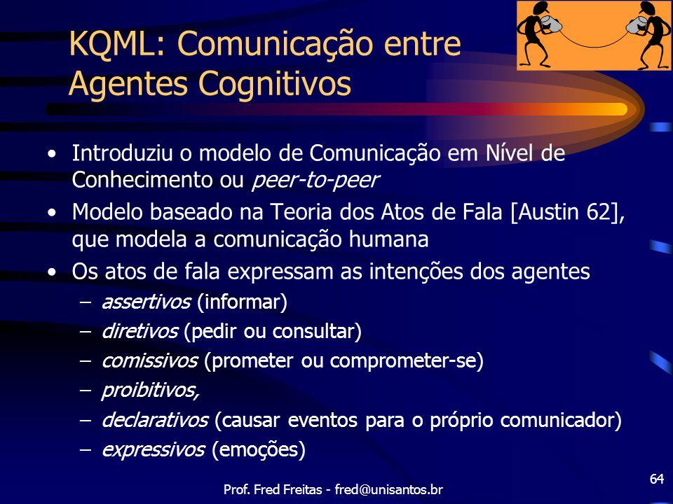 Prof. Fred Freitas - fred@unisantos.br 64 KQML: Comunicação entre Agentes Cognitivos Introduziu o modelo de Comunicação em Nível de Conhecimento ou pe