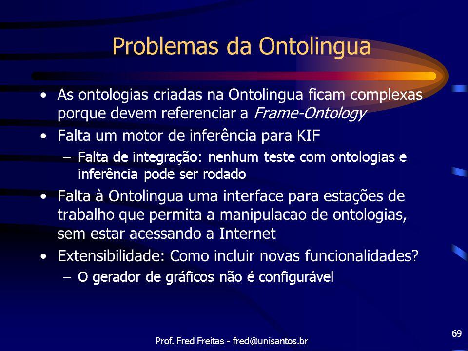Prof. Fred Freitas - fred@unisantos.br 69 Problemas da Ontolingua As ontologias criadas na Ontolingua ficam complexas porque devem referenciar a Frame