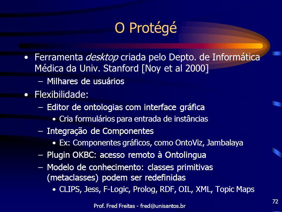 Prof. Fred Freitas - fred@unisantos.br 72 O Protégé Ferramenta desktop criada pelo Depto. de Informática Médica da Univ. Stanford [Noy et al 2000] –Mi
