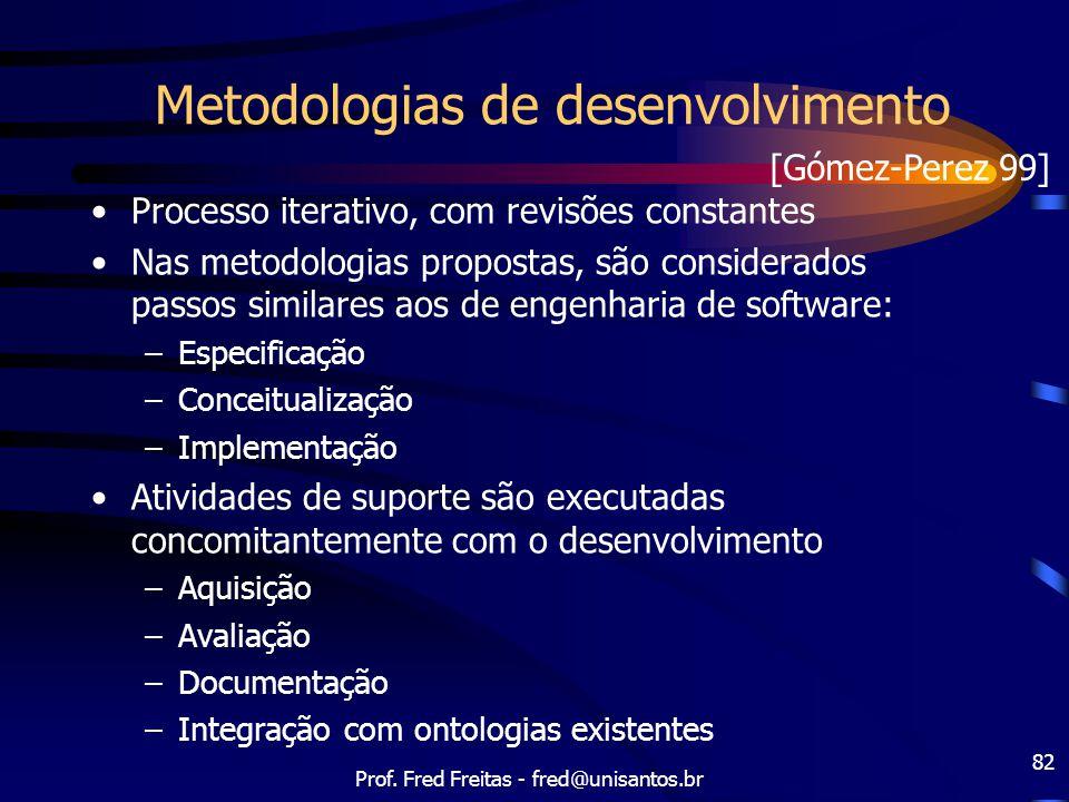Prof. Fred Freitas - fred@unisantos.br 82 Metodologias de desenvolvimento Processo iterativo, com revisões constantes Nas metodologias propostas, são