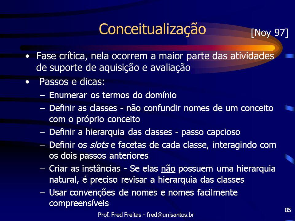 Prof. Fred Freitas - fred@unisantos.br 85 Conceitualização Fase crítica, nela ocorrem a maior parte das atividades de suporte de aquisição e avaliação
