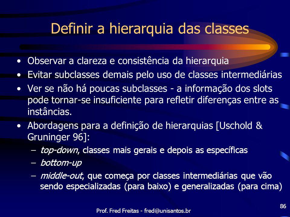 Prof. Fred Freitas - fred@unisantos.br 86 Definir a hierarquia das classes Observar a clareza e consistência da hierarquia Evitar subclasses demais pe