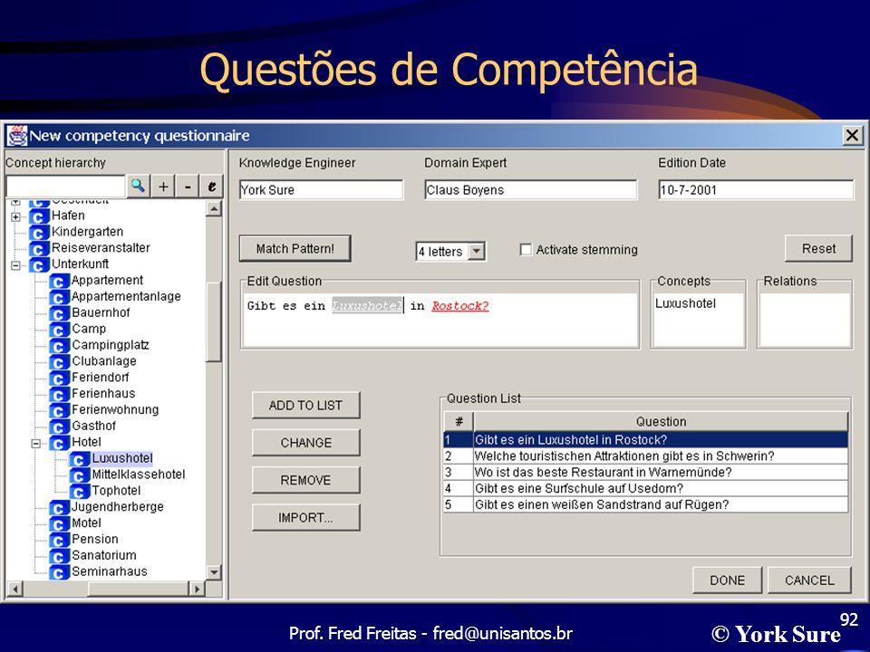 Prof. Fred Freitas - fred@unisantos.br 92 Questões de Competência © York Sure