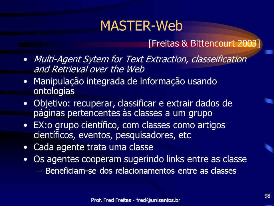 Prof. Fred Freitas - fred@unisantos.br 98 MASTER-Web Multi-Agent Sytem for Text Extraction, classeification and Retrieval over the Web Manipulação int