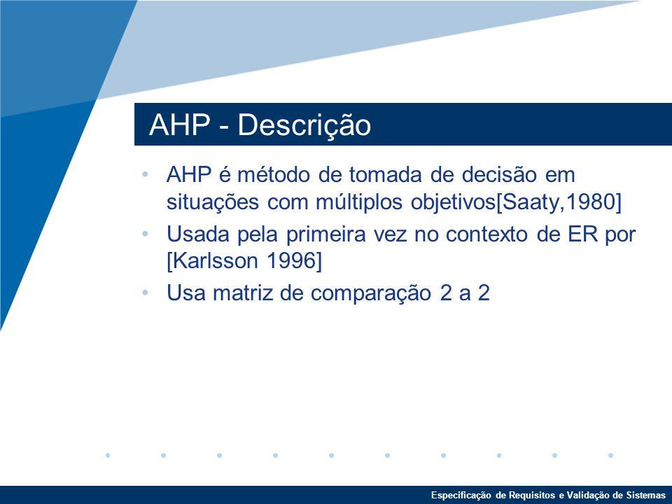Especificação de Requisitos e Validação de Sistemas AHP - Descrição AHP é método de tomada de decisão em situações com múltiplos objetivos[Saaty,1980] Usada pela primeira vez no contexto de ER por [Karlsson 1996] Usa matriz de comparação 2 a 2