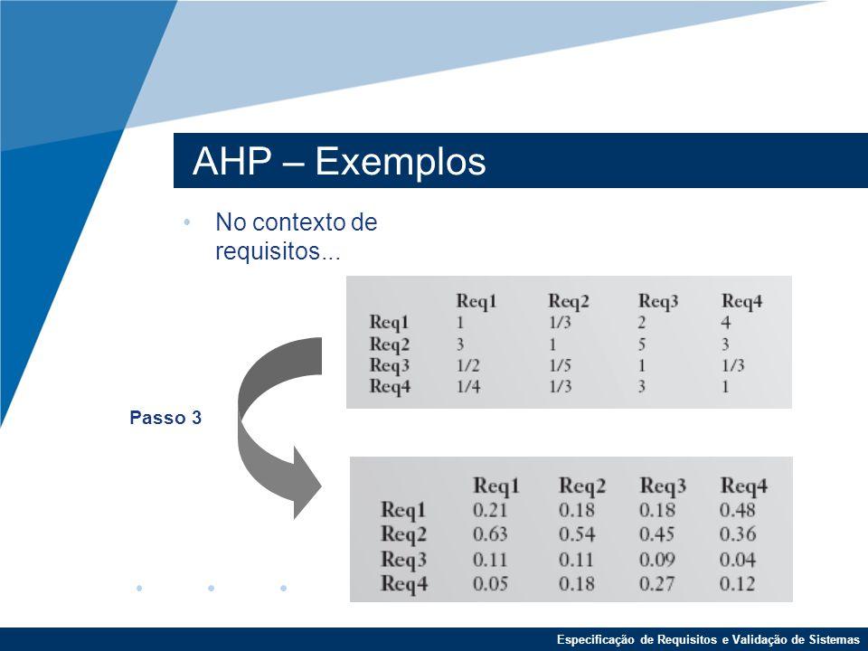 Especificação de Requisitos e Validação de Sistemas AHP – Exemplos No contexto de requisitos...