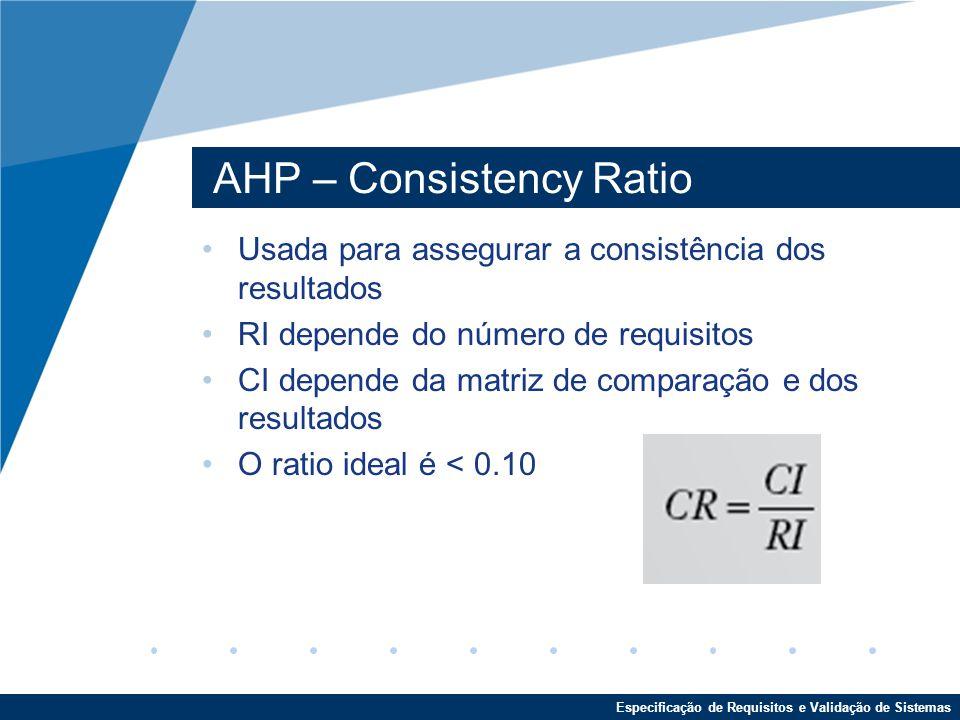 Especificação de Requisitos e Validação de Sistemas AHP – Consistency Ratio Usada para assegurar a consistência dos resultados RI depende do número de requisitos CI depende da matriz de comparação e dos resultados O ratio ideal é < 0.10