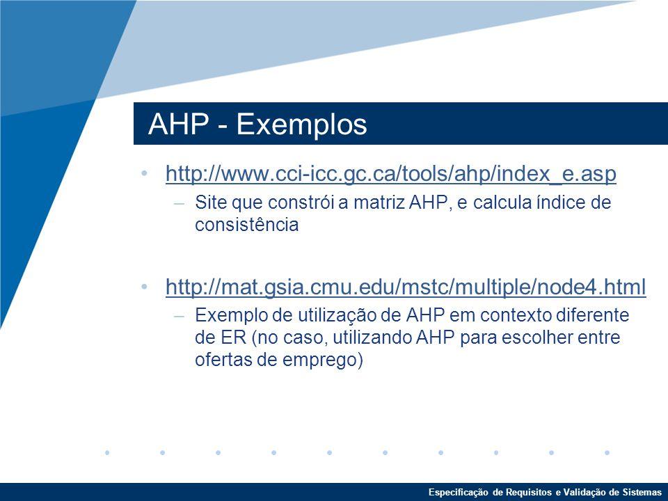 Especificação de Requisitos e Validação de Sistemas AHP - Exemplos http://www.cci-icc.gc.ca/tools/ahp/index_e.asp –Site que constrói a matriz AHP, e calcula índice de consistência http://mat.gsia.cmu.edu/mstc/multiple/node4.html –Exemplo de utilização de AHP em contexto diferente de ER (no caso, utilizando AHP para escolher entre ofertas de emprego)