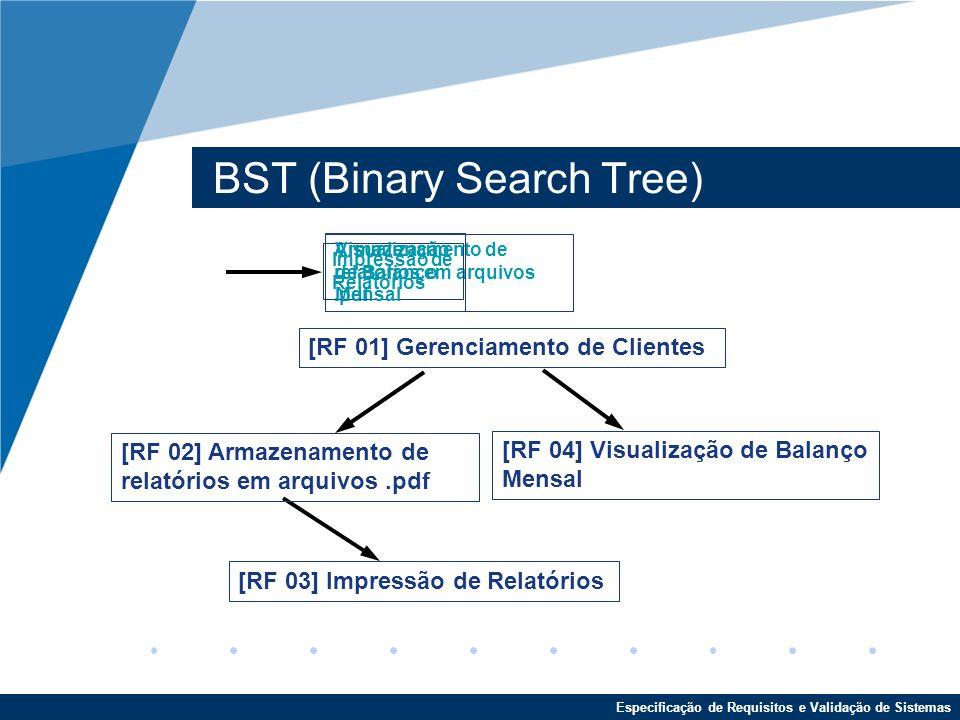 Especificação de Requisitos e Validação de Sistemas BST (Binary Search Tree) [RF 01] Gerenciamento de Clientes Armazenamento de relatórios em arquivos.pdf [RF 03] Impressão de Relatórios [RF 04] Visualização de Balanço Mensal [RF 02] Armazenamento de relatórios em arquivos.pdf Impressão de Relatórios Visualização de Balanço Mensal