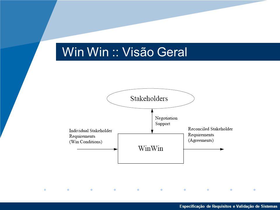 Especificação de Requisitos e Validação de Sistemas Win Win :: Visão Geral