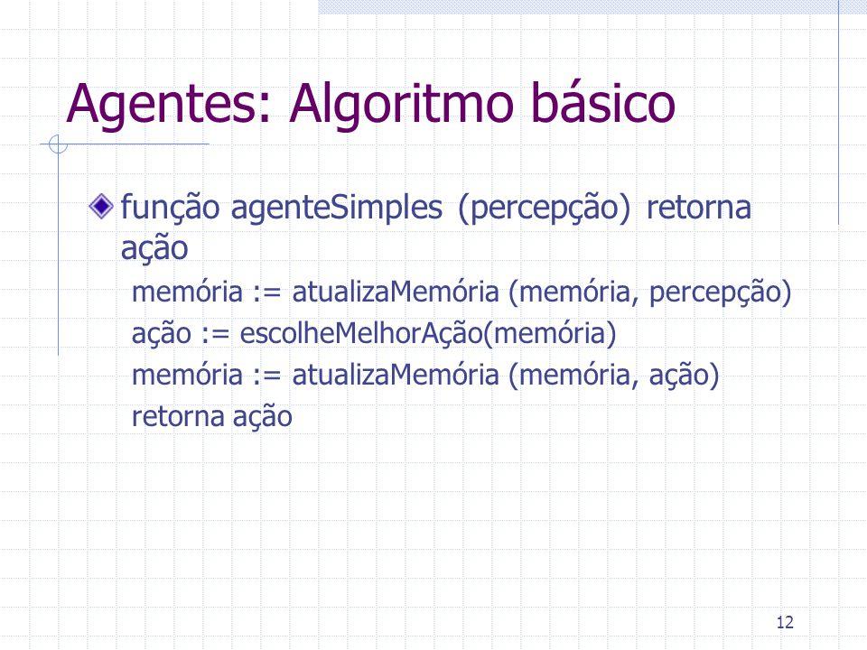 12 Agentes: Algoritmo básico função agenteSimples (percepção) retorna ação memória := atualizaMemória (memória, percepção) ação := escolheMelhorAção(memória) memória := atualizaMemória (memória, ação) retorna ação