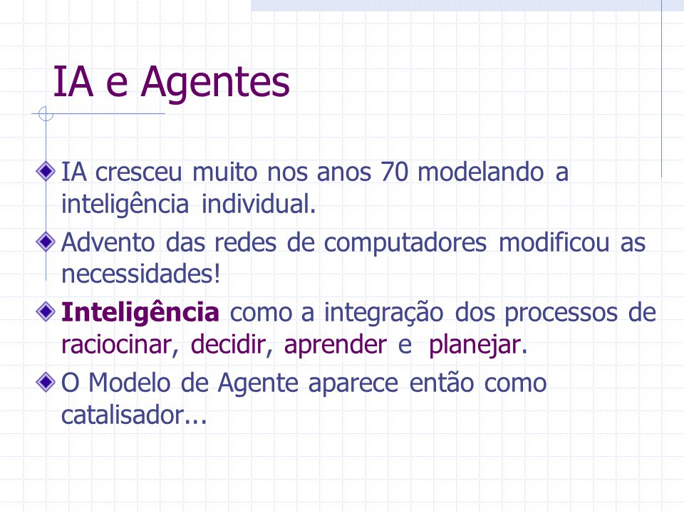 IA e Agentes IA cresceu muito nos anos 70 modelando a inteligência individual.