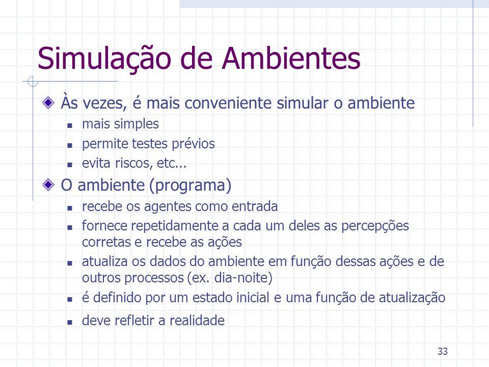 33 Simulação de Ambientes Às vezes, é mais conveniente simular o ambiente mais simples permite testes prévios evita riscos, etc...