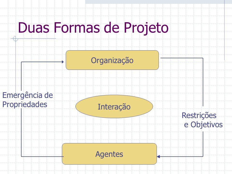 Duas Formas de Projeto Organização Agentes Interação Restrições e Objetivos Emergência de Propriedades