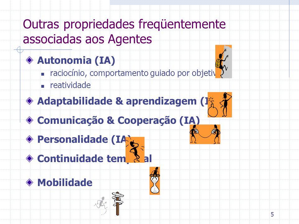 5 Outras propriedades freqüentemente associadas aos Agentes Autonomia (IA) raciocínio, comportamento guiado por objetivos reatividade Adaptabilidade & aprendizagem (IA) Comunicação & Cooperação (IA) Personalidade (IA) Continuidade temporal Mobilidade