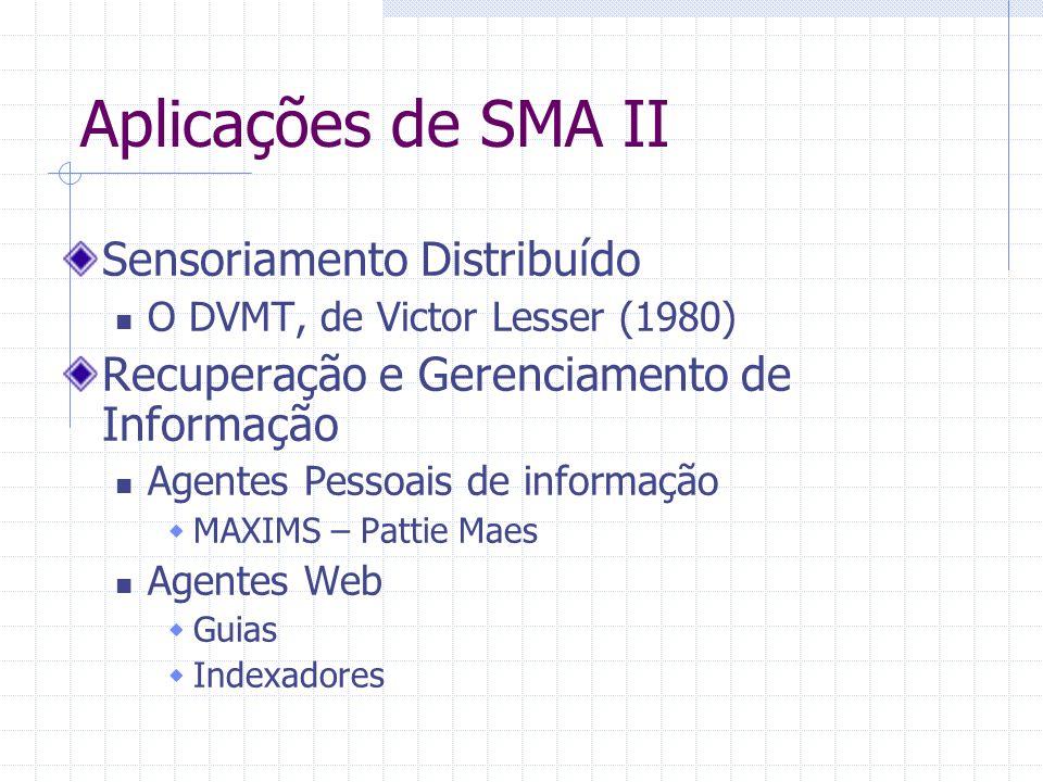 Aplicações de SMA II Sensoriamento Distribuído O DVMT, de Victor Lesser (1980) Recuperação e Gerenciamento de Informação Agentes Pessoais de informação  MAXIMS – Pattie Maes Agentes Web  Guias  Indexadores
