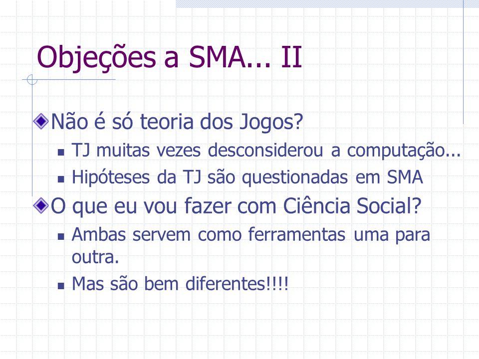 Objeções a SMA...II Não é só teoria dos Jogos. TJ muitas vezes desconsiderou a computação...