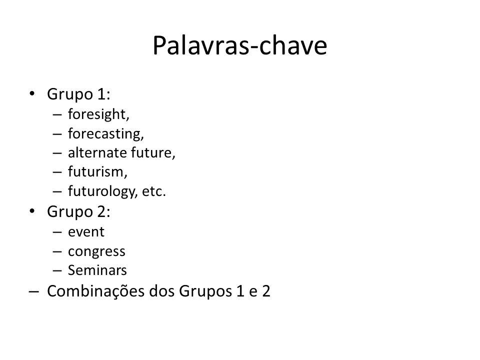 Palavras-chave Grupo 1: – foresight, – forecasting, – alternate future, – futurism, – futurology, etc.
