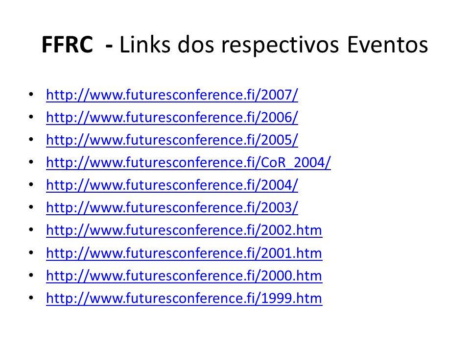 FFRC - Links dos respectivos Eventos http://www.futuresconference.fi/2007/ http://www.futuresconference.fi/2006/ http://www.futuresconference.fi/2005/ http://www.futuresconference.fi/CoR_2004/ http://www.futuresconference.fi/2004/ http://www.futuresconference.fi/2003/ http://www.futuresconference.fi/2002.htm http://www.futuresconference.fi/2001.htm http://www.futuresconference.fi/2000.htm http://www.futuresconference.fi/1999.htm