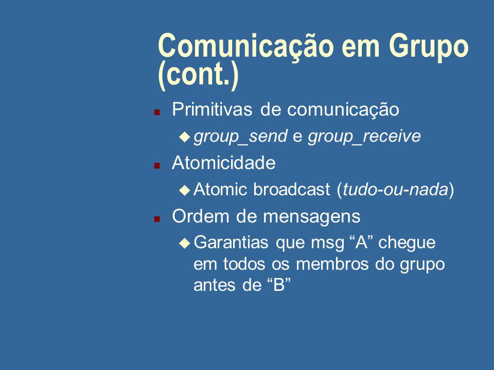 Comunicação em Grupo (cont.) n Primitivas de comunicação u group_send e group_receive n Atomicidade u Atomic broadcast (tudo-ou-nada) n Ordem de mensagens u Garantias que msg A chegue em todos os membros do grupo antes de B