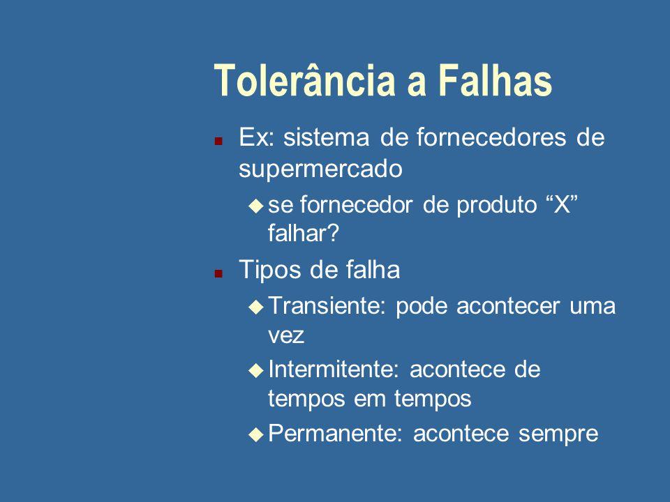 Tolerância a Falhas n Ex: sistema de fornecedores de supermercado u se fornecedor de produto X falhar.