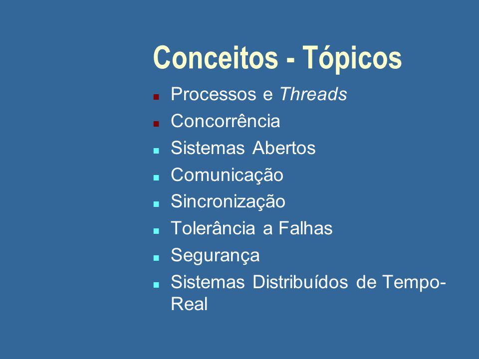 Conceitos - Tópicos n Processos e Threads n Concorrência n Sistemas Abertos n Comunicação n Sincronização n Tolerância a Falhas n Segurança n Sistemas Distribuídos de Tempo- Real