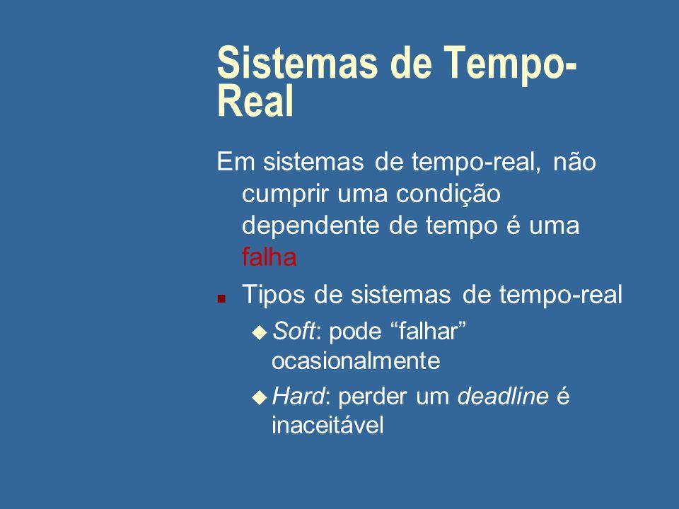 Sistemas de Tempo- Real Em sistemas de tempo-real, não cumprir uma condição dependente de tempo é uma falha n Tipos de sistemas de tempo-real u Soft: pode falhar ocasionalmente u Hard: perder um deadline é inaceitável