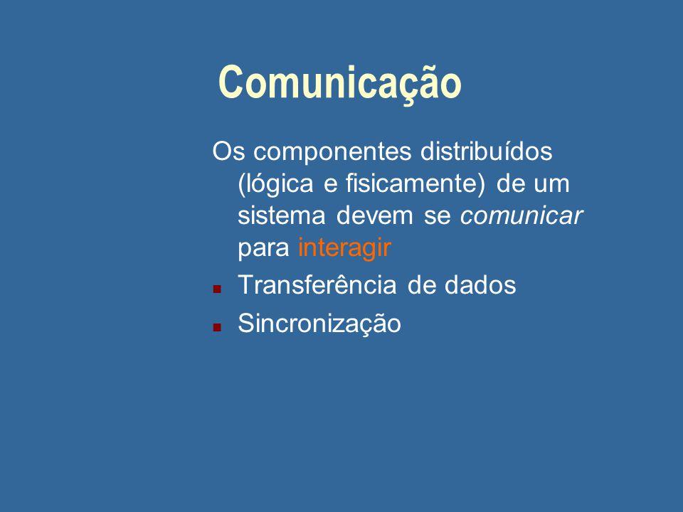 Comunicação Os componentes distribuídos (lógica e fisicamente) de um sistema devem se comunicar para interagir n Transferência de dados n Sincronização
