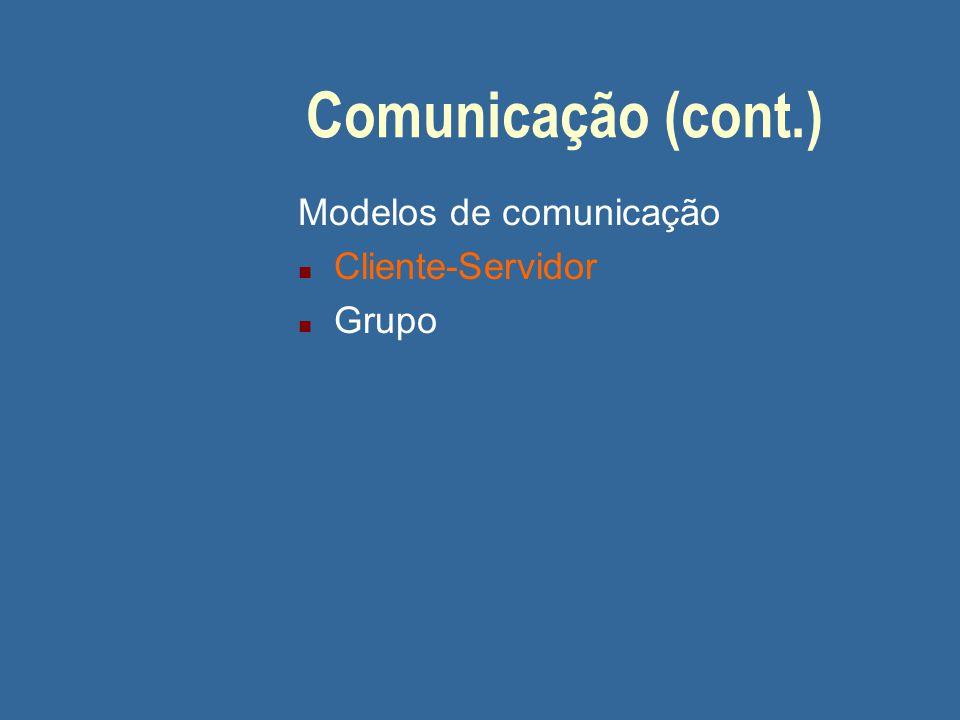 Comunicação (cont.) Modelos de comunicação n Cliente-Servidor n Grupo