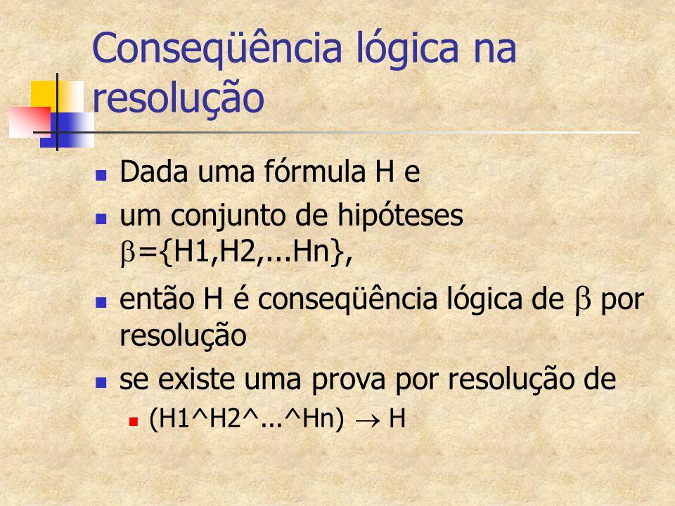 Conseqüência lógica na resolução Dada uma fórmula H e um conjunto de hipóteses  ={H1,H2,...Hn}, então H é conseqüência lógica de  por resolução se existe uma prova por resolução de (H1^H2^...^Hn)  H