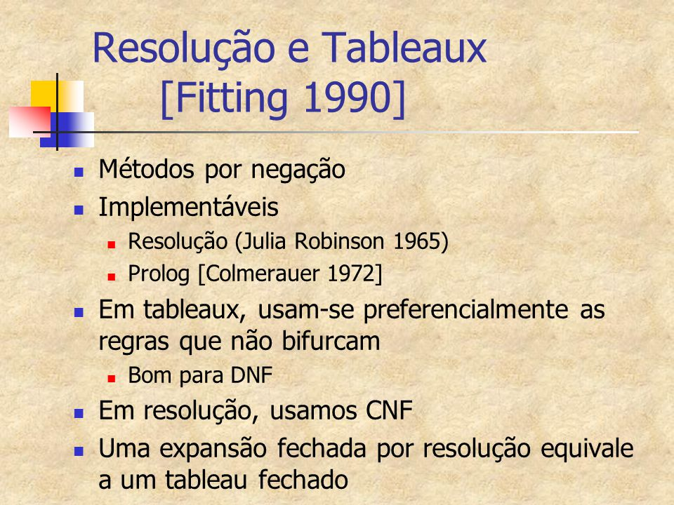 Resolução e Tableaux [Fitting 1990] Métodos por negação Implementáveis Resolução (Julia Robinson 1965) Prolog [Colmerauer 1972] Em tableaux, usam-se p