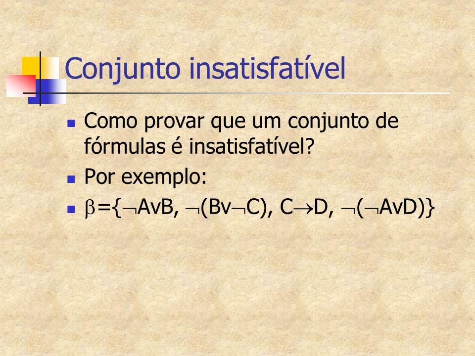Conjunto insatisfatível Como provar que um conjunto de fórmulas é insatisfatível? Por exemplo:  ={  AvB,  (Bv  C), C  D,  (  AvD)}