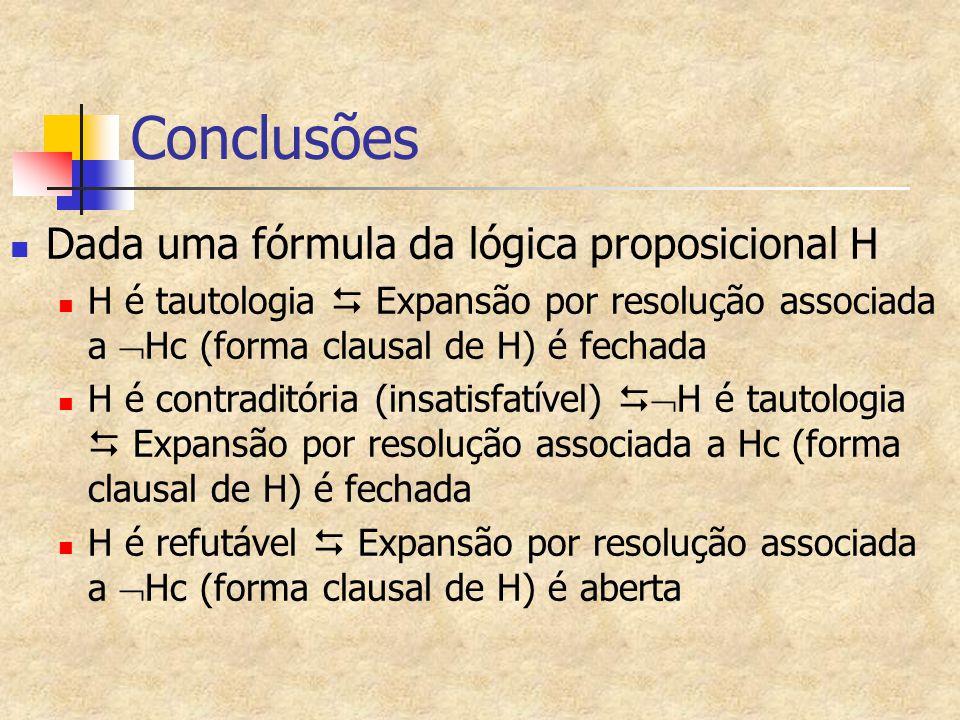 Conclusões Dada uma fórmula da lógica proposicional H H é tautologia  Expansão por resolução associada a  Hc (forma clausal de H) é fechada H é contraditória (insatisfatível)   H é tautologia  Expansão por resolução associada a Hc (forma clausal de H) é fechada H é refutável  Expansão por resolução associada a  Hc (forma clausal de H) é aberta