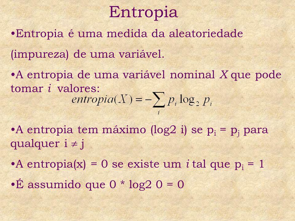 Entropia Entropia é uma medida da aleatoriedade (impureza) de uma variável. A entropia de uma variável nominal X que pode tomar i valores: A entropia