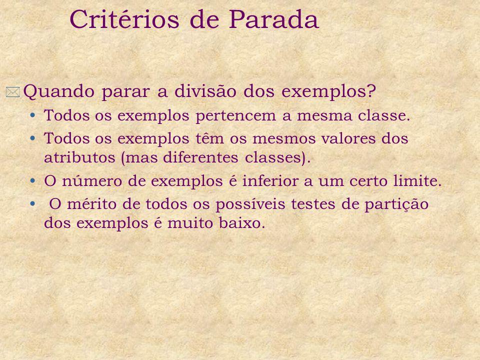 * Quando parar a divisão dos exemplos? Todos os exemplos pertencem a mesma classe. Todos os exemplos têm os mesmos valores dos atributos (mas diferent