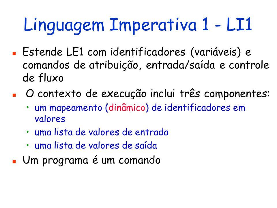 Linguagem Funcional 2 - LF2 Estende LF1 com funções de alta ordem Uma função passa a ser um valor O contexto de execução inclui um único componente: mapeamento de identificadores em valores Portanto, o resultado da avaliação de uma expressão pode ser uma função, uma função pode ser argumento de outra função,...