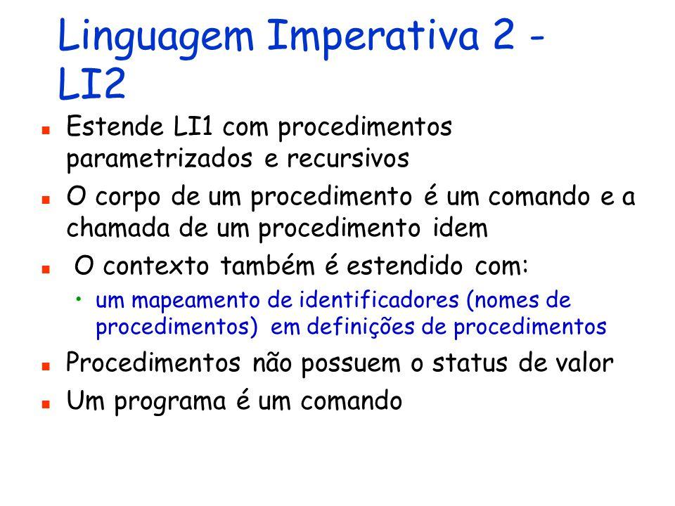 Linguagem Imperativa 1 - LI1 Estende LE1 com identificadores (variáveis) e comandos de atribuição, entrada/saída e controle de fluxo O contexto de execução inclui três componentes: um mapeamento (dinâmico) de identificadores em valores uma lista de valores de entrada uma lista de valores de saída Um programa é um comando